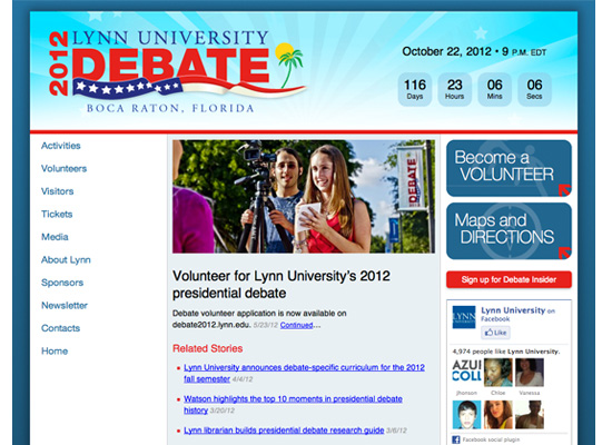Screenshot of 2012 Presidential Debate site home page