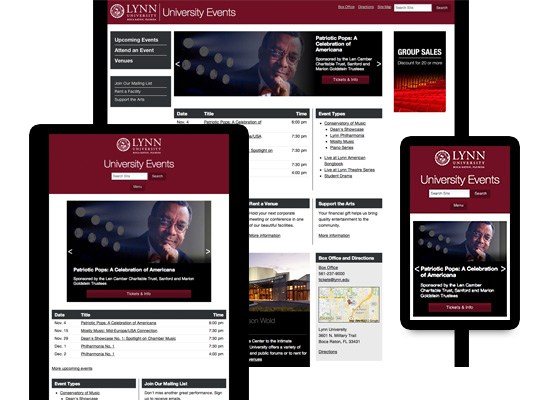Screenshots of Lynn University Events site at various widths showing responsive web design
