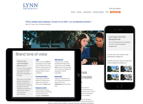 Screenshots of The Lynn Brand at various widths showing responsive web design