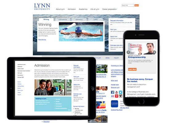 Screenshots of Lynn University site at various widths showing responsive web design